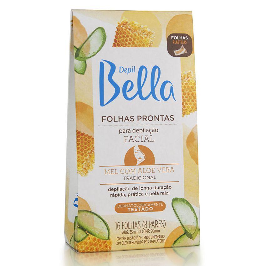 Folhas Prontas Depilação Facial Depil Bella 16un Mel e Aloe Vera