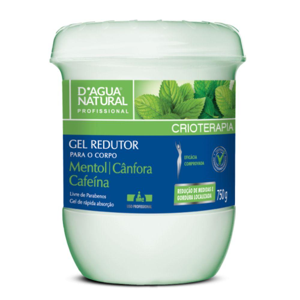 Gel Redutor D agua Natural Crioterapia Mentol Cãnfora e Cafeína 750g