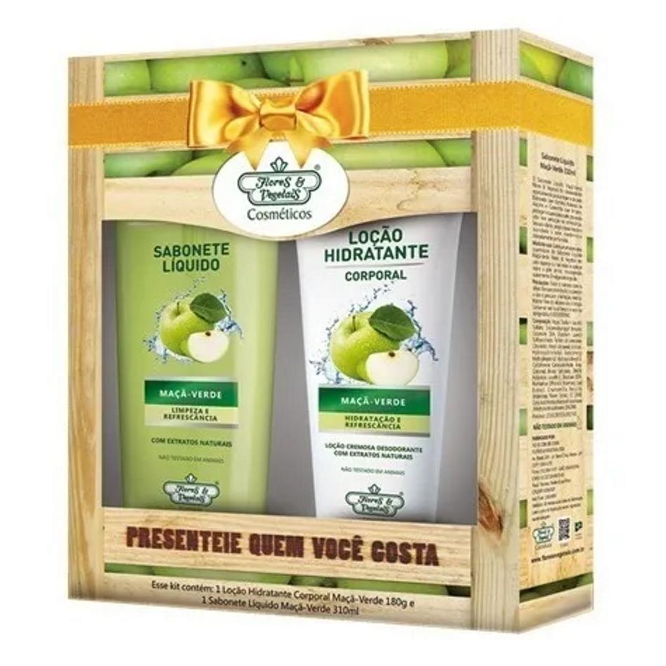 Kit Loção Hidratante + Sabonete Líquido Maça Verde Flores e Vegetais