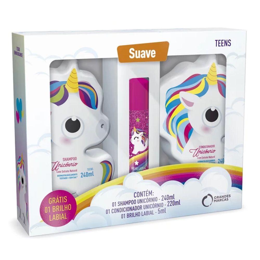 Kit Unicórnio Shampoo + Condicionador + Brilho labial