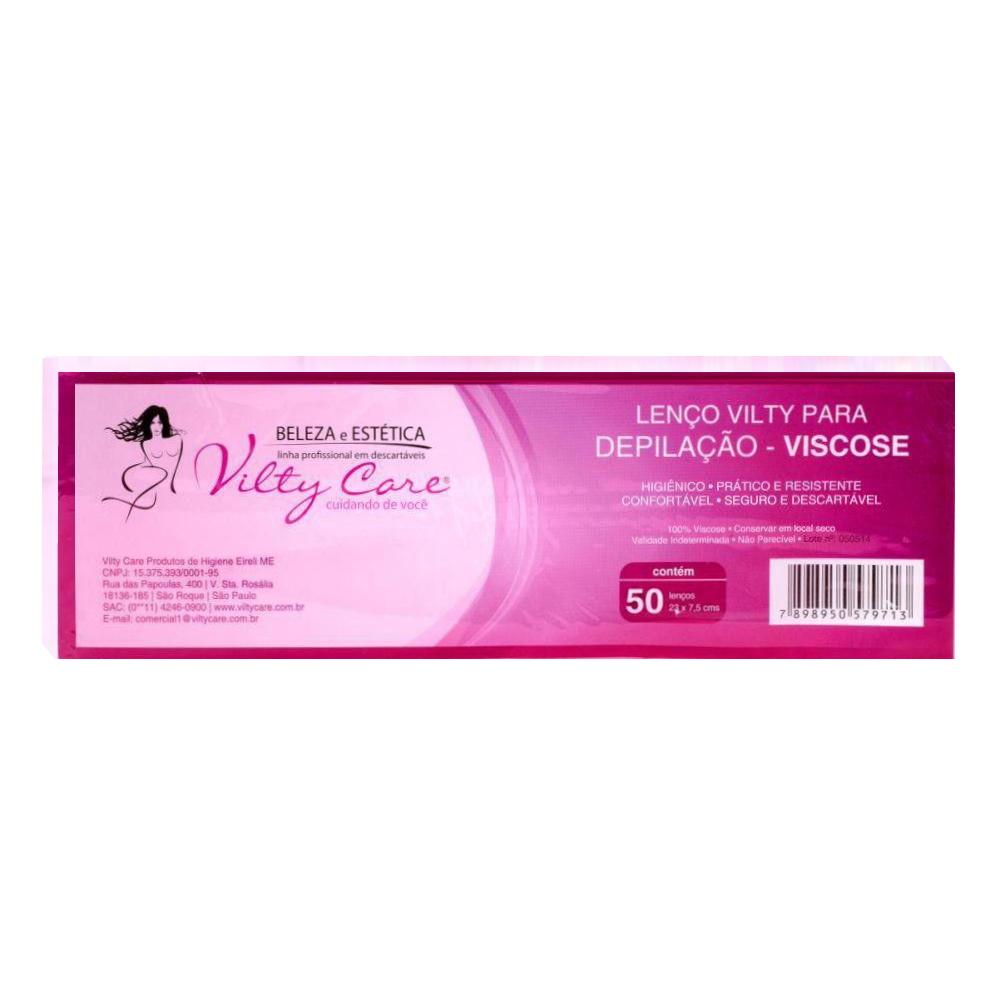 Lenço para Depilação Viscose 50 Folhas Vilty Care