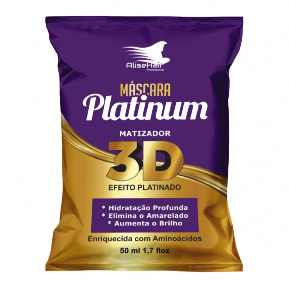 Máscara Platinum 3D Matizador 50ml Alise Hair
