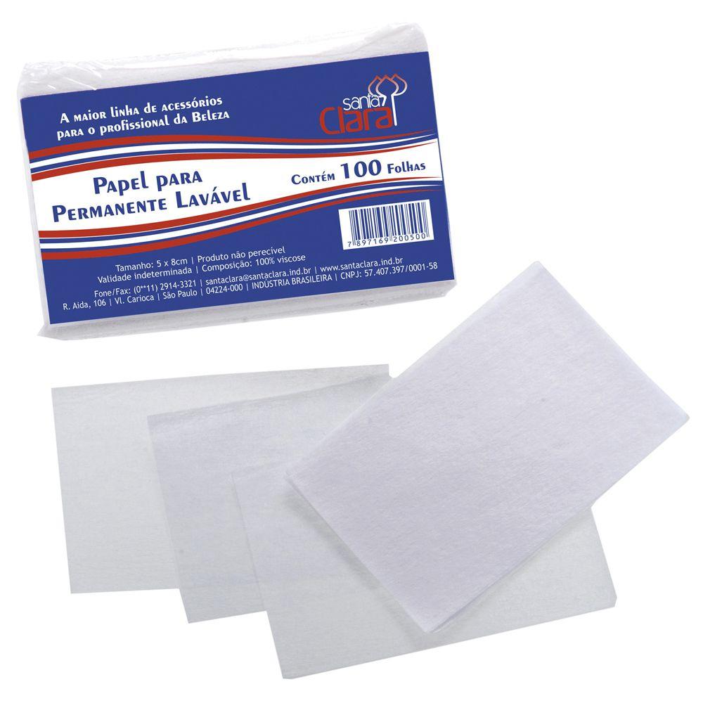Papel para Permanente Lavável Santa Clara 100 folhas  - Sofí Cosméticos