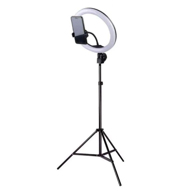 Ring Light 26cm com suporte celular e tripé de 180cm