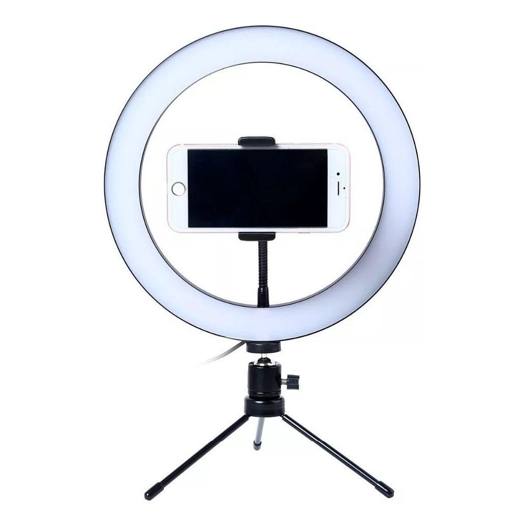 Ring Light 25cm com suporte celular e tripé de mesa