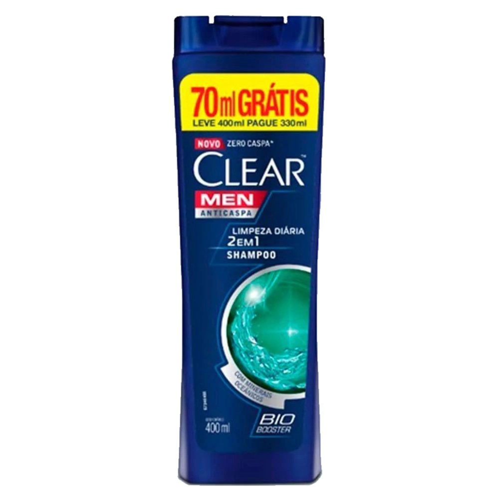 Shampoo Clear Men 2x1 Limpeza Diária 400ml