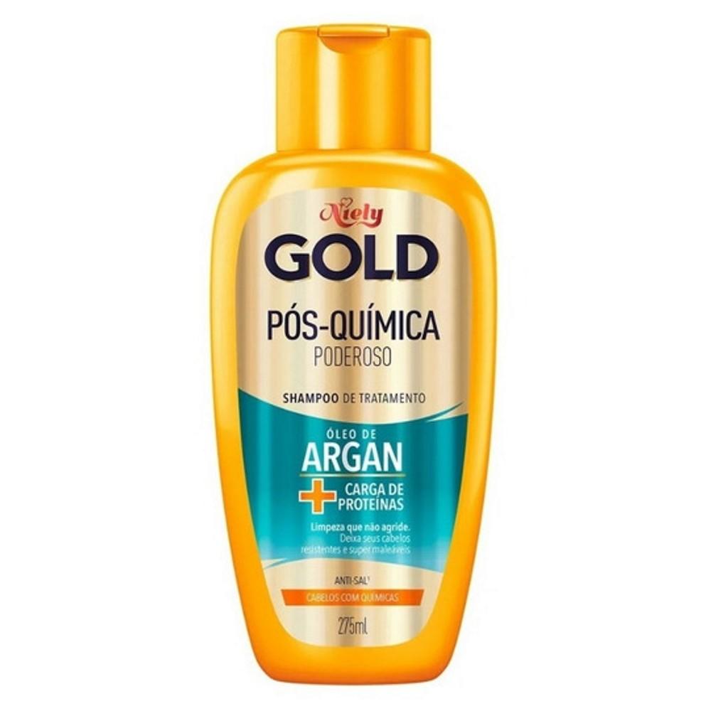 Shampoo Niely Gold Óleo de Argan Pós Química  Poderoso 300ml