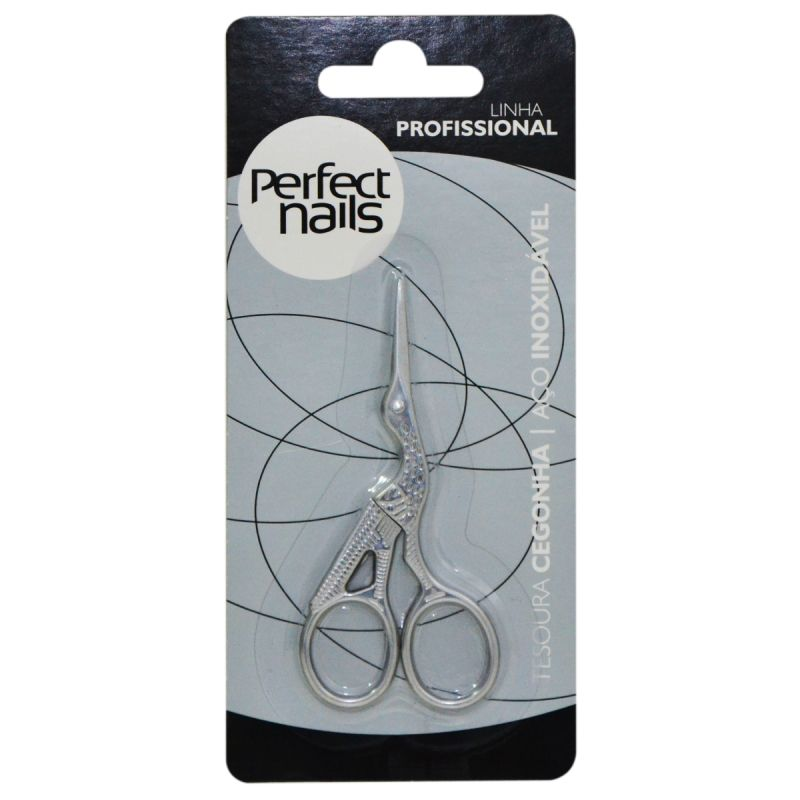 Tesoura para Sobrancelha Cegonha Perfect Nails Inox
