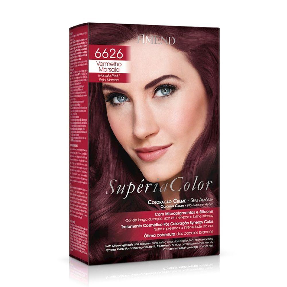 Tonalizante Amend Supéria Color Kit 6626 Vermelho Marsala