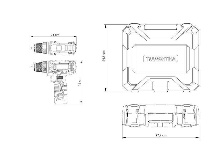Furadeira Parafusadeira Tramontina bateria 10,8V KIT 30pçs
