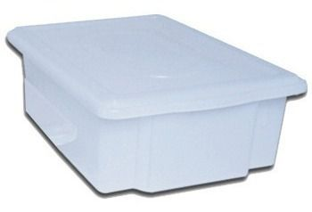Caixa Plástica Branca Para Açogue C/ Tampa Supercron 11 Lts.