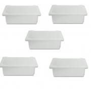 Kit 5 pçs de Caixa Plástica Branca Para Açogue C/ Tampa Supercron 4,5 Lts