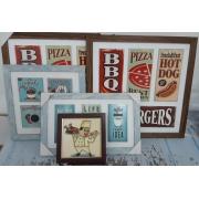 Quadros Decorativos Para Bares e Restaurantes Kit 4 peças
