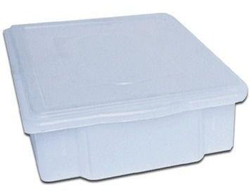 Caixa Plástica Branca Para Açogue C/ Tampa Supercron 25 Lts.