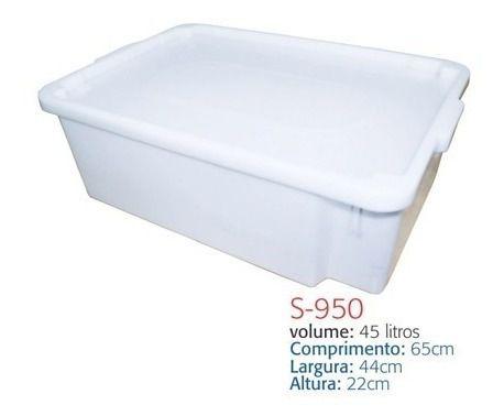 Caixa Plástica Branca Para Açogue C/ Tampa Supercron 45 Lts.