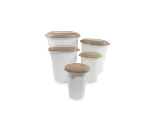 Conjunto Potes Mantimento Redondo Transparente 5 Peças