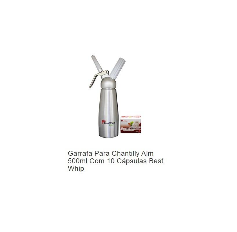 Garrafa para Chantilly com 10 cápsulas Grátis