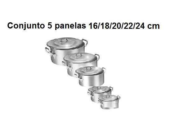 Kit Panela Caçarola Ind. Alum. Vigor 16/18/20/22/24 cm