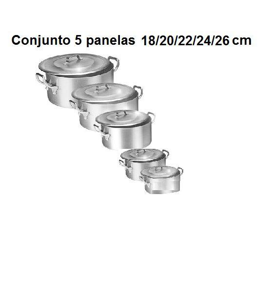 Kit  Panela Caçarola Ind. Alum. Vigor 18/20/22/24/26