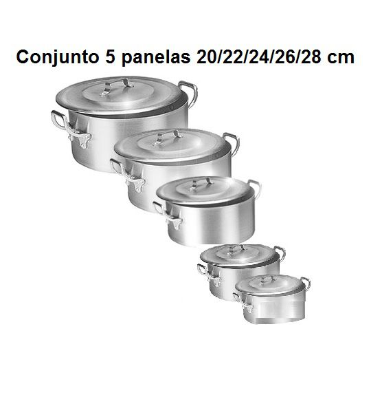 Kit Panela Caçarola Ind. Alum.Vigor 20/22/24/26/28 cm