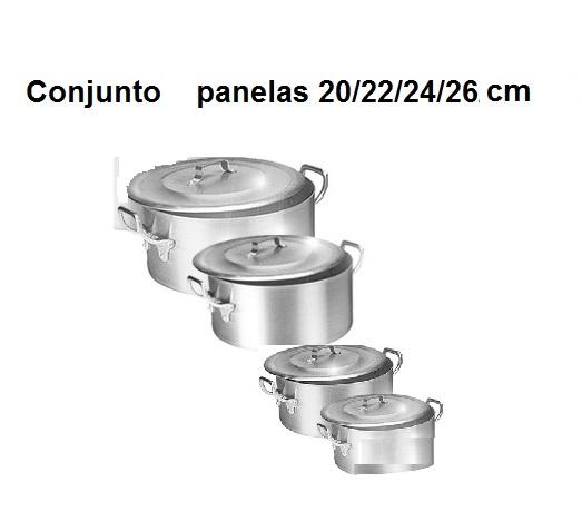 Kit Panela Caçarola Ind. Alum.Vigor 20/22/24/26 cm