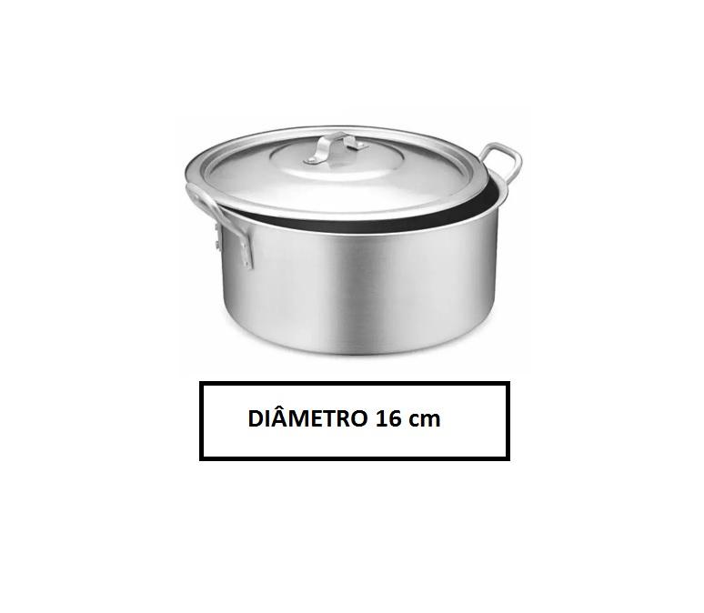 Panela Caçarola Industrial Alumínio Vigor 1,6 Litros 8 x16 cm