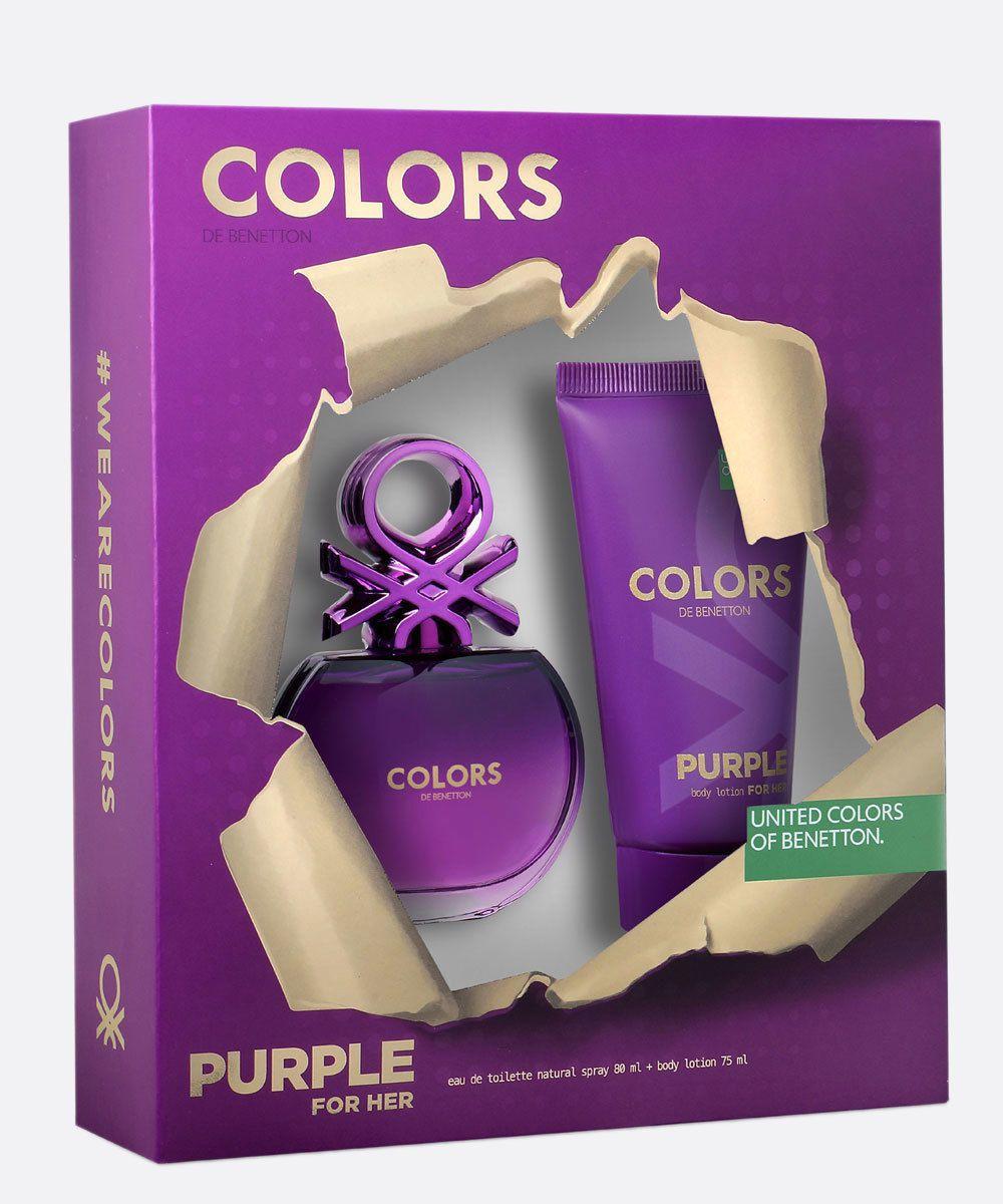 Kit Colors de Benetton Purple 80ml Eau de Toilette Perfume Feminino + Loção Corporal 75ml