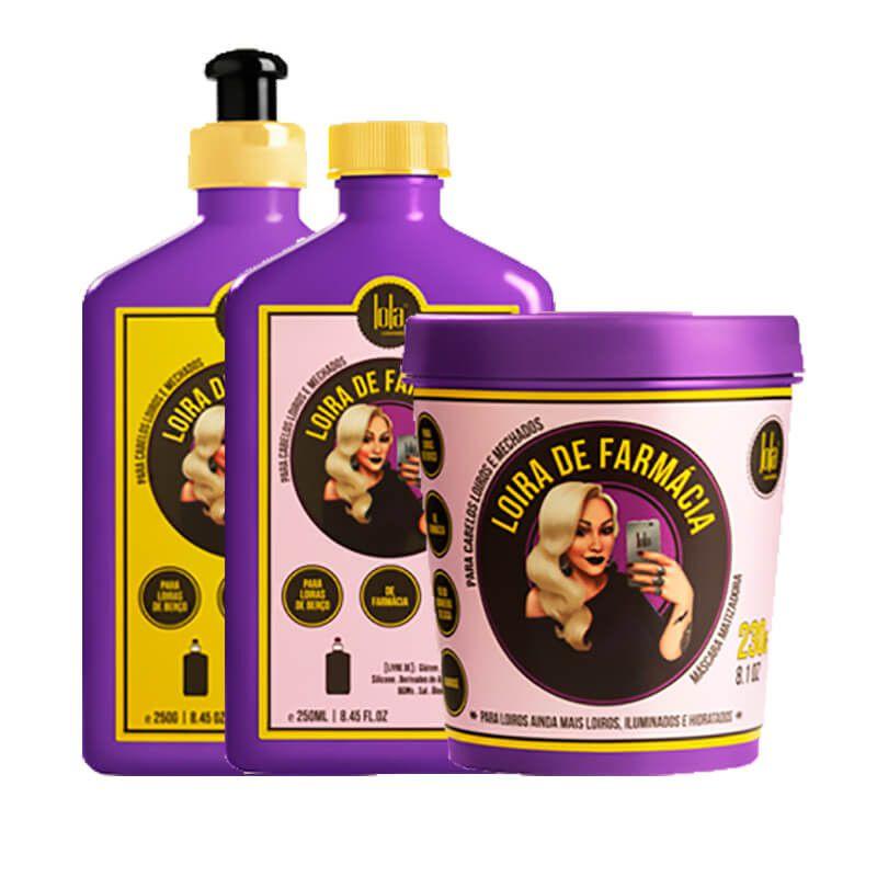 Kit Lola Cosmetics Loira de Farmacia (Shampoo+Bálsamo+Máscara)