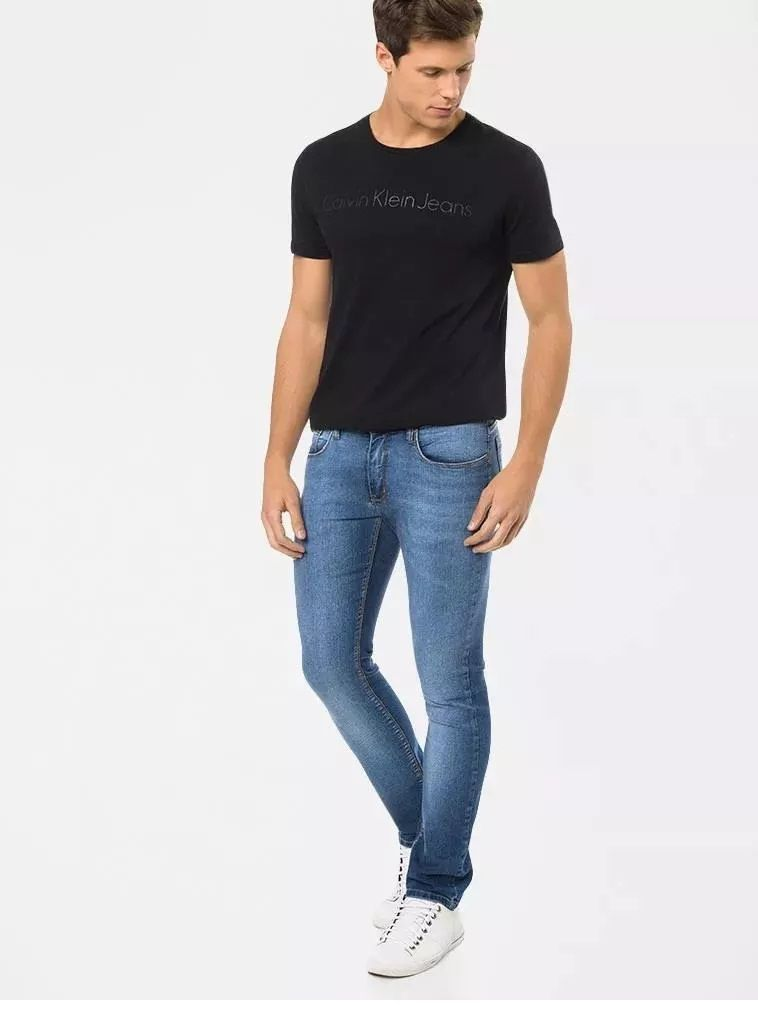 073776a794a9cb Calça Masculina Calvin Klein Jeans Skinny Five Pockets Azul - Loja ...