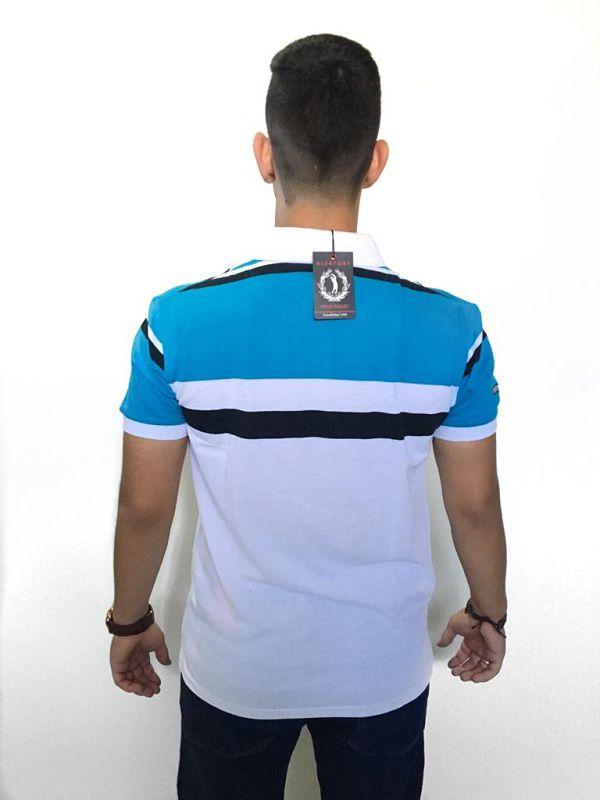 46709e924a Camisa Polo Aleatory Piquet Listrada Azul e Branco - Loja Desfile