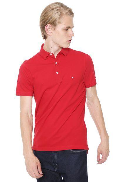 cda080366 Camisa Polo Tommy Hilfiger Slim Logo Vermelha - Loja Desfile