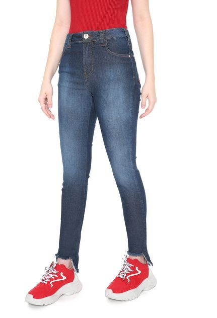 d98d11a00 Calça feminina Jeans Coca-Cola Jeans Skinny Barra Assimétrica Azul - Loja  Desfile