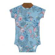 Body Floral Azul Bebê