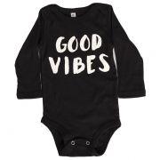 Body Good Vibes Preto Manga Longa Bebê