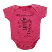 Body Guitarra Rosa Bebê