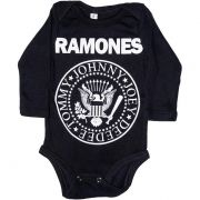 Body Ramones Preto Manga Longa Bebê