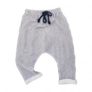 Calça Moletinho Branco Listrado Vintage Marinho