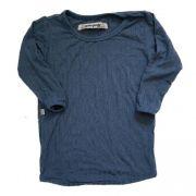 Camiseta Long Azul Canelada Manga Longa