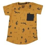 Camiseta Long Mostarda Desenhos