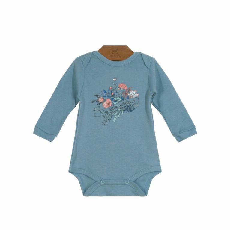 Body Azul Manga Longa Bebê