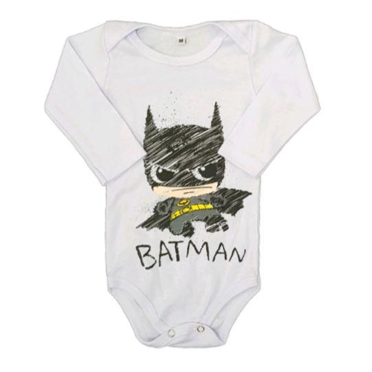 Body Batman Manga Longa Bebê