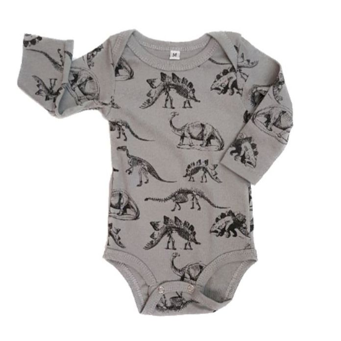 Body Dinos Mescla Manga Longa Bebê