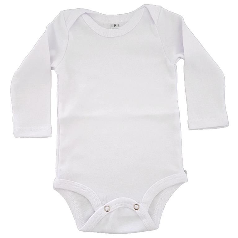 Body Liso Branco Manga Longa Bebê
