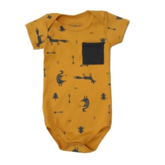 Body Mostarda Desenhos Bebê