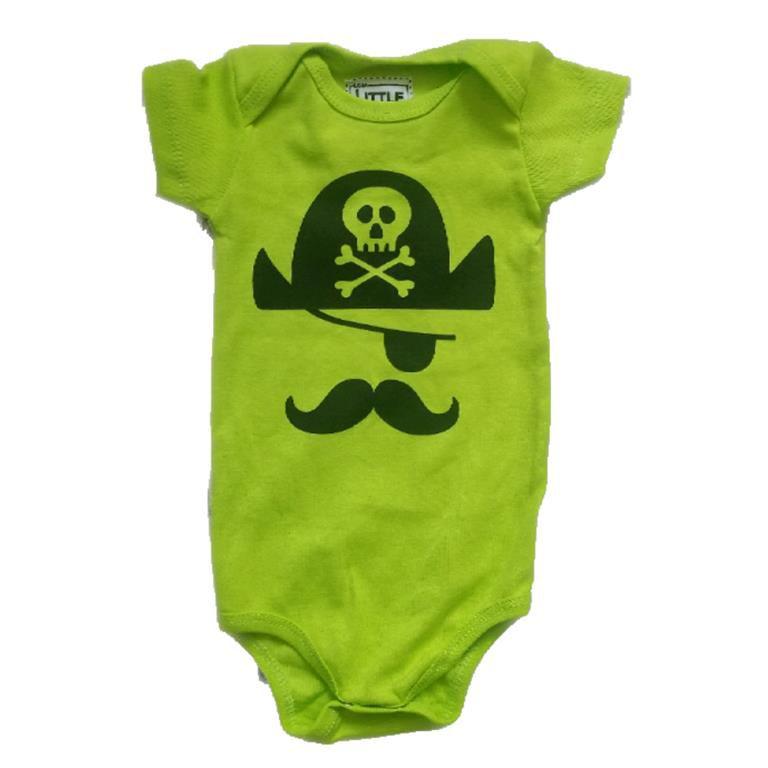 Body Pirata Verde Neon Bebê
