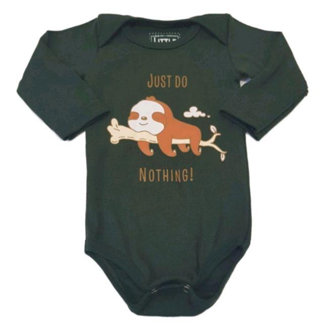 Body Preguiça Manga Longa Bebê