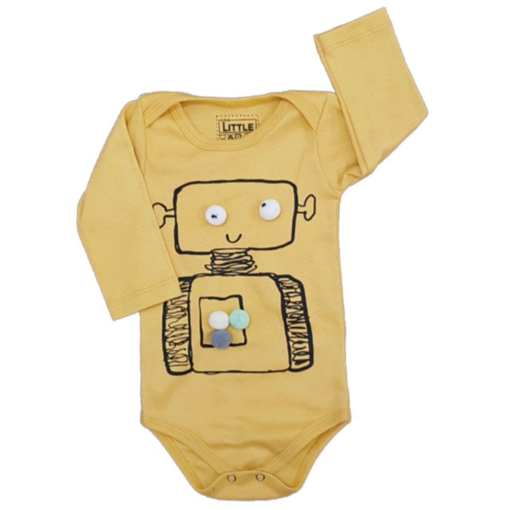 Body Robô Manga Longa Bebê