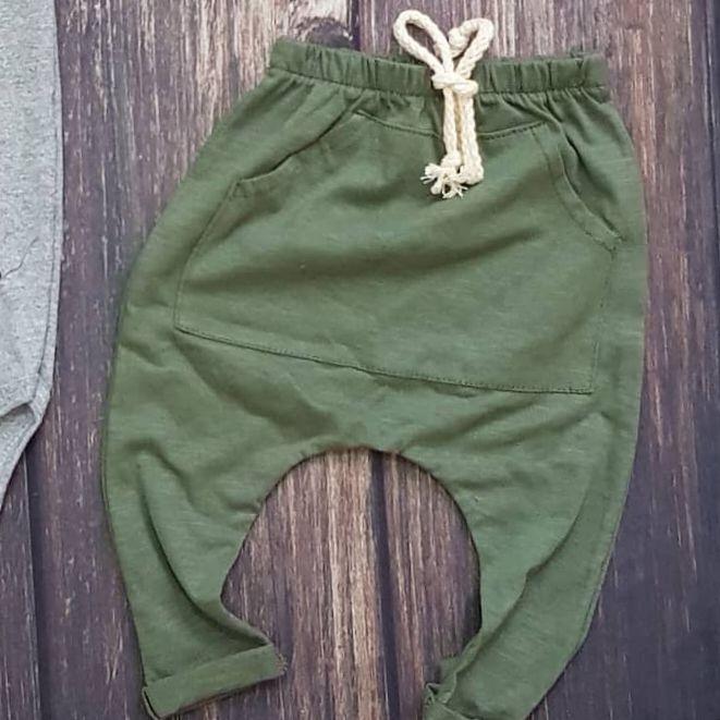 Calça Saruel Bolso Canguru Básica Verde Militar