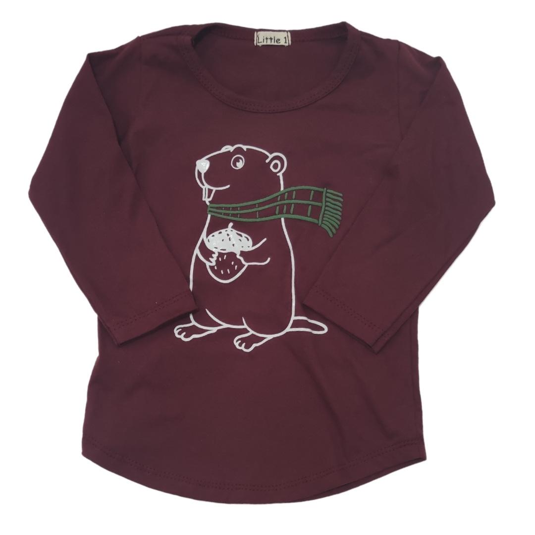 Camiseta Castor Vinho Manga Longa