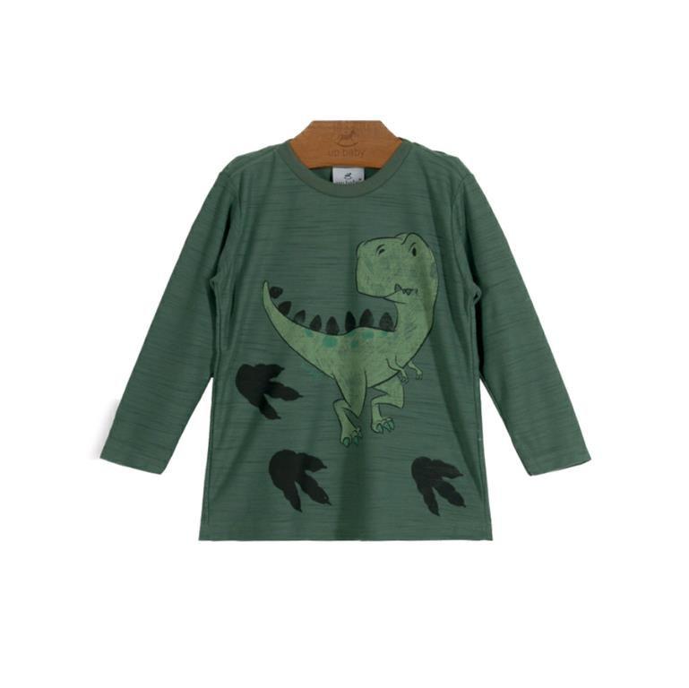 Camiseta Dino Manga longa Verde